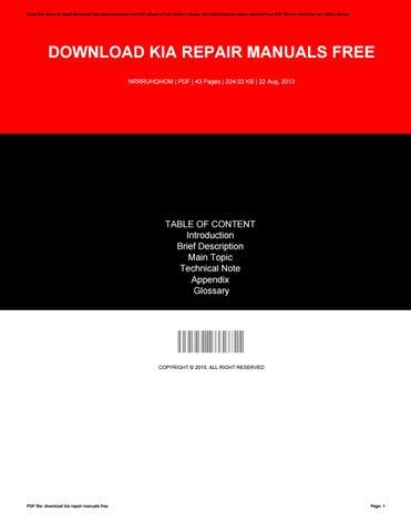 kia repair manual pdf