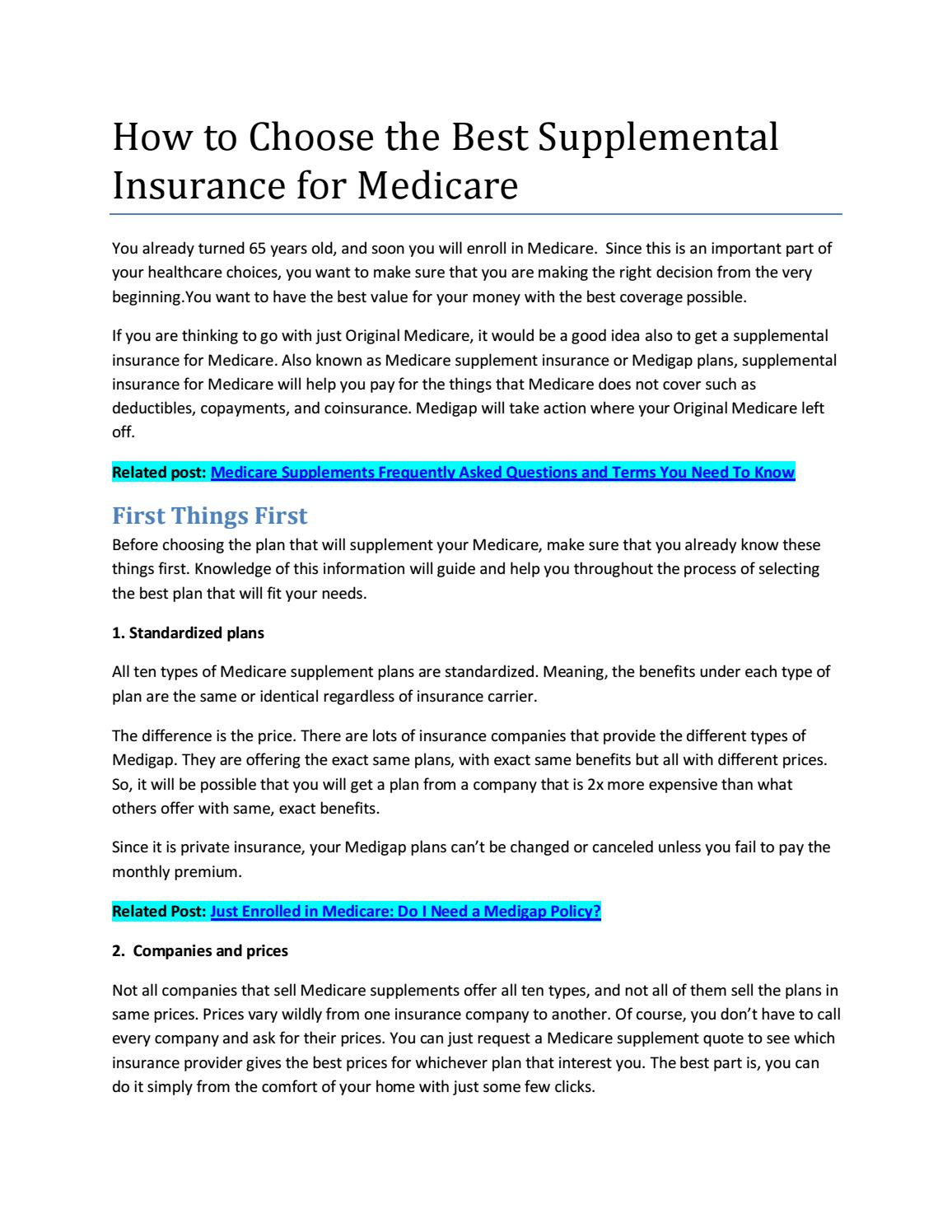Choose the Best Medicare Supplemental Insurance with 5 ...