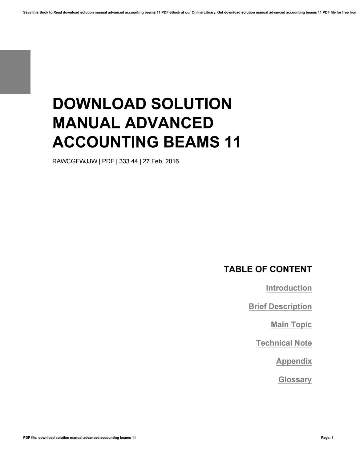 Download solution manual advanced accounting beams 11 by Ethel Burnette -  issuu