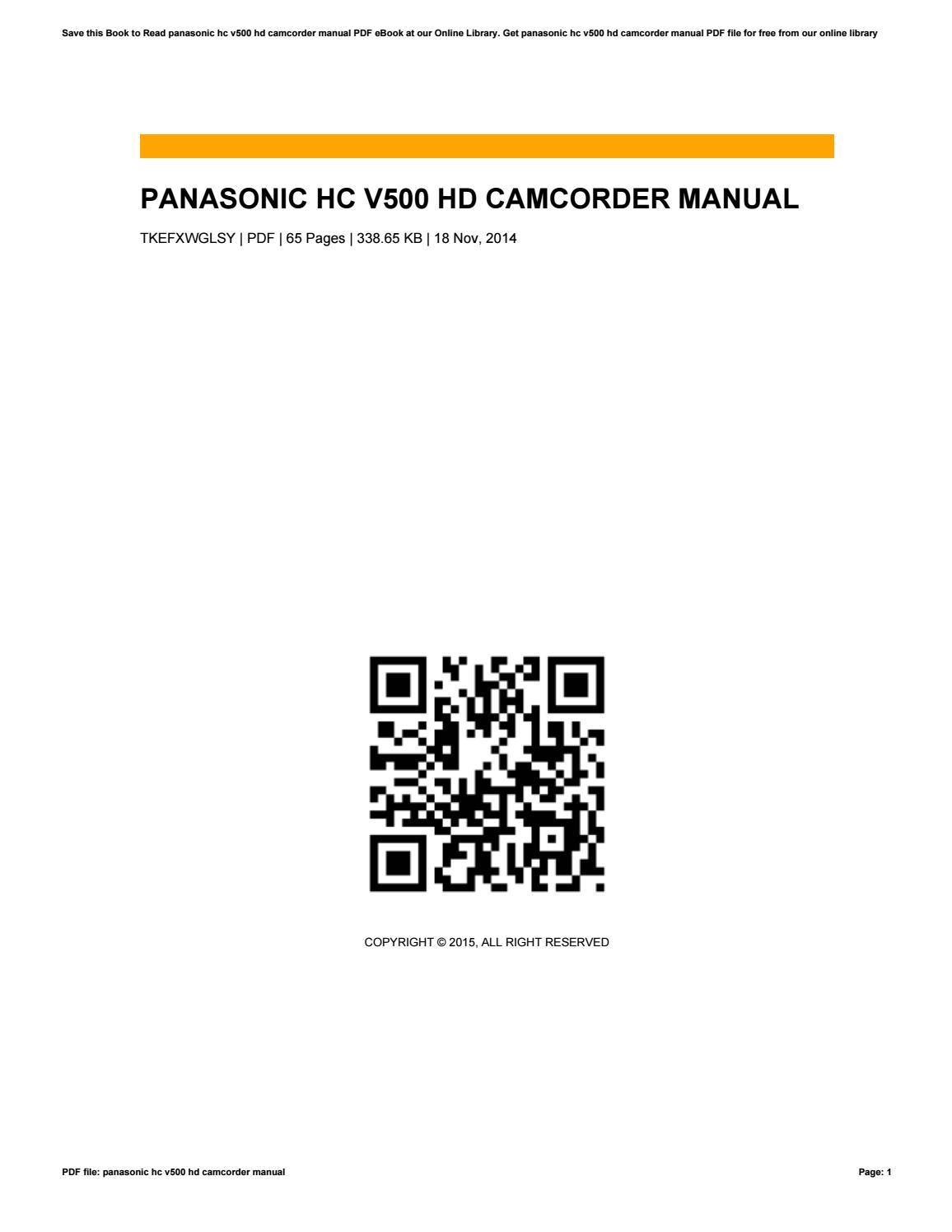 panasonic hc v500 hd camcorder manual by bridget blaine issuu rh issuu com