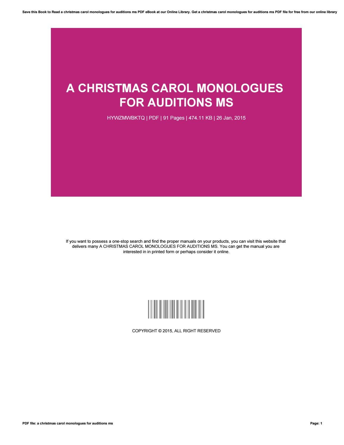 A Christmas Carol Pdf.A Christmas Carol Monologues For Auditions Ms By