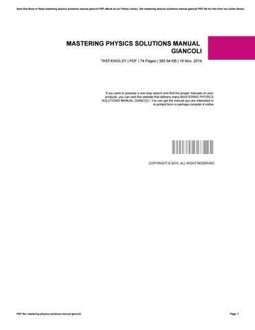 mastering physics solutions manual giancoli by james issuu rh issuu com mastering physics solution manual pdf mastering physics solutions manual pdf