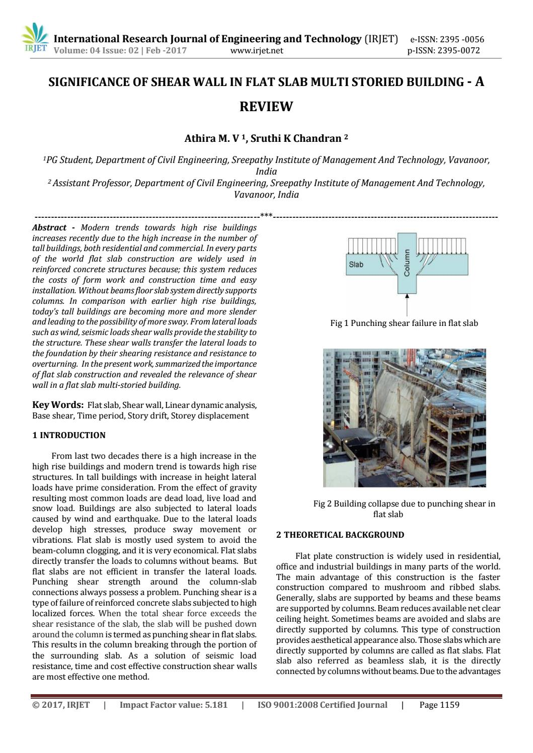 Significance of shear wall in flat slab multi storied