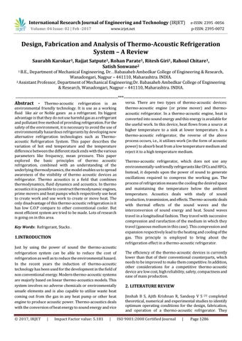 thermoacoustic refrigeration research paper