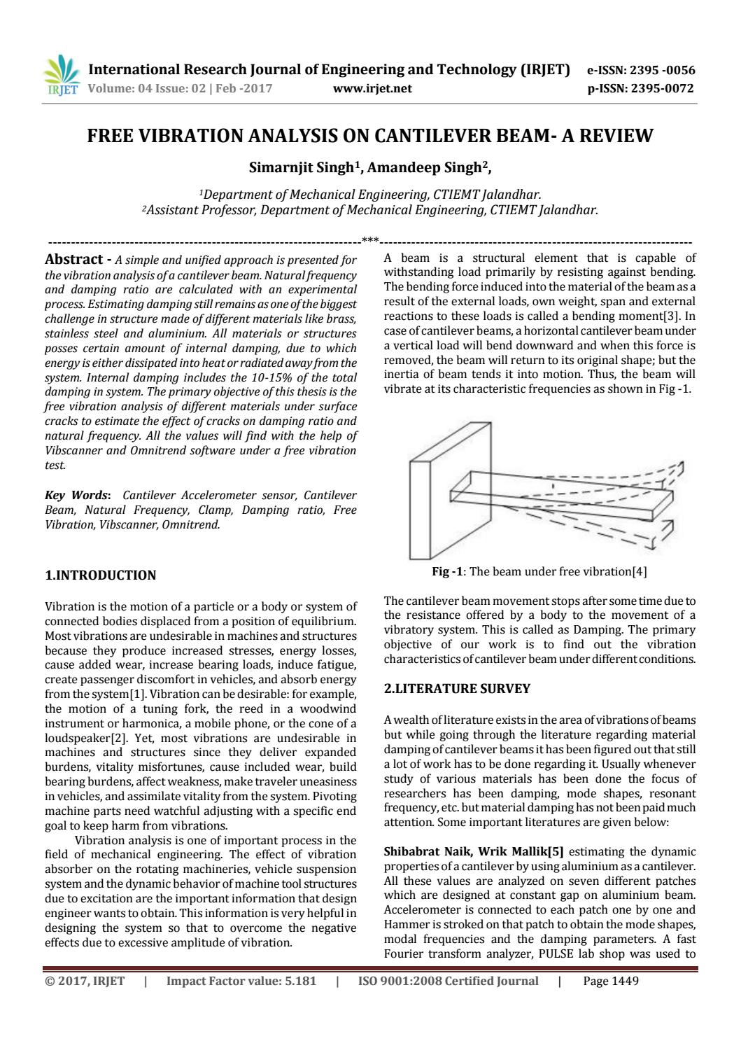 Free vibration analysis on cantilever beam-A review by IRJET Journal
