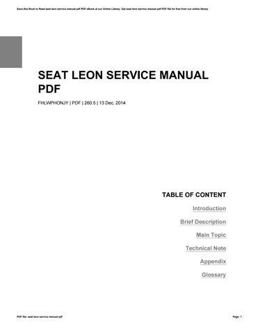 seat leon service manual pdf by jay issuu rh issuu com seat leon service manual download seat leon 1m service manual