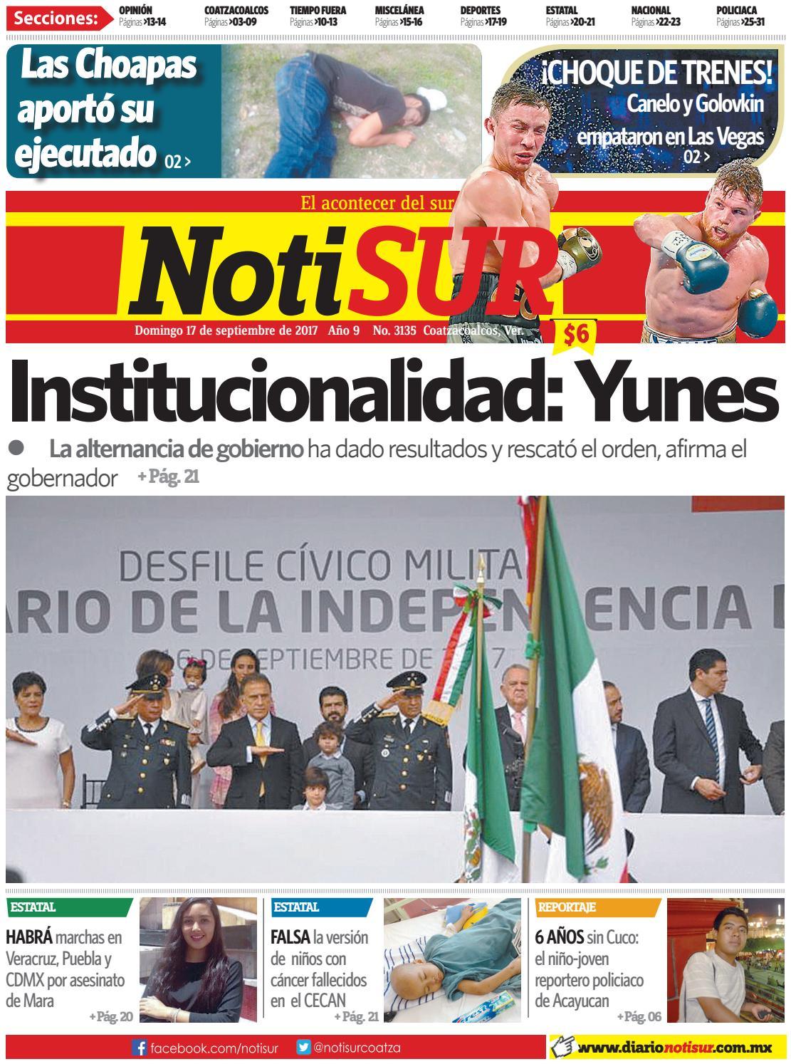 a1eb61b078 NotiSUR 17 de septiembre 2017 by Diario NotiSUR Coatzacoalcos 2015 ...