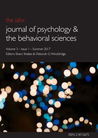 IAFOR Journal of Psychology & the Behavioral Sciences Volume