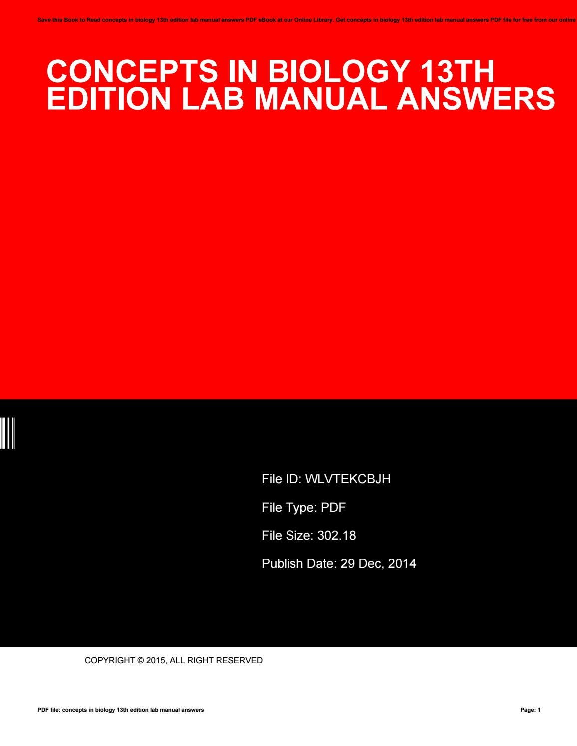 Concepts in biology 13th edition lab manual answers by Roscoe Kemp - issuu
