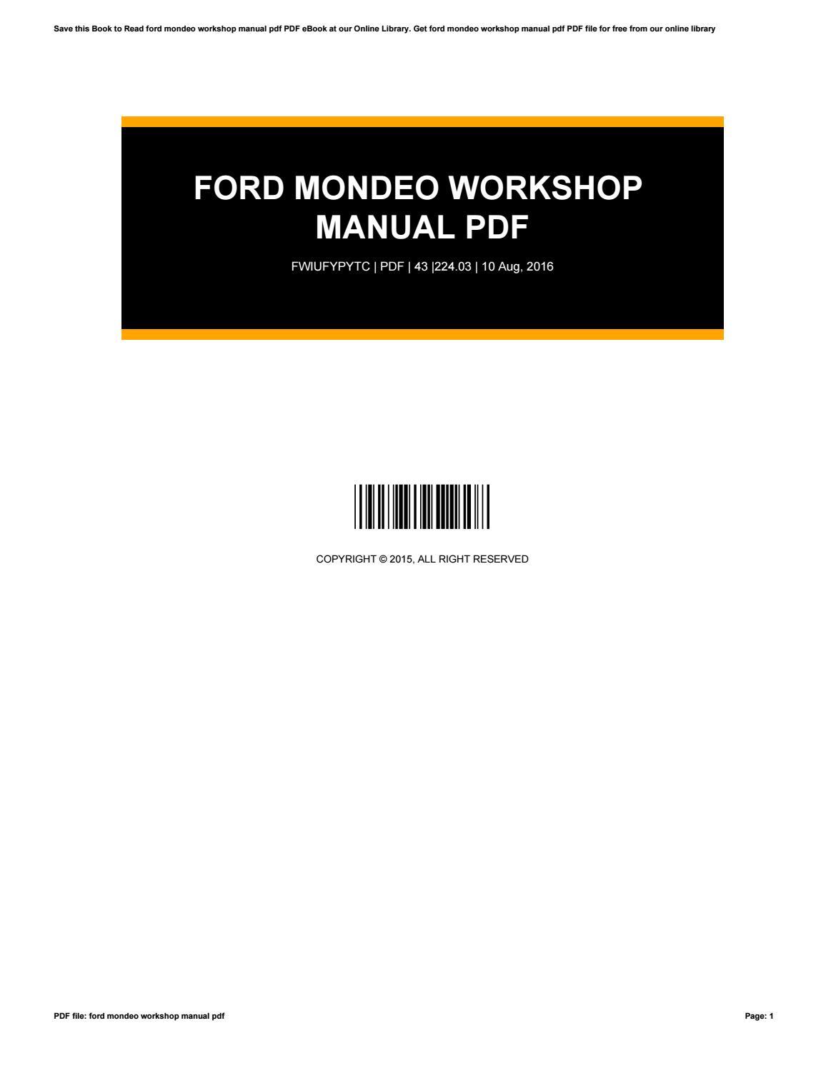 Ford Mondeo Workshop Manual Ebooks Pdf Free 2019 Ebook