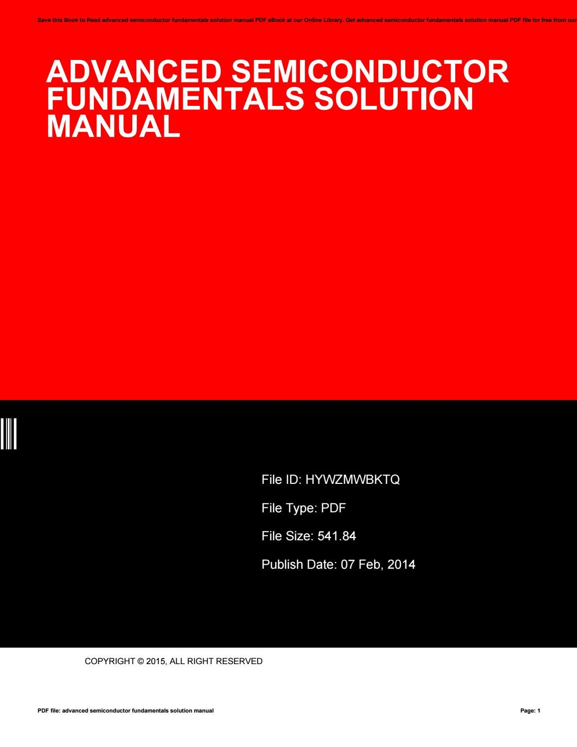 Advanced semiconductor fundamentals solution manual by Antoinette Santiago  - issuu
