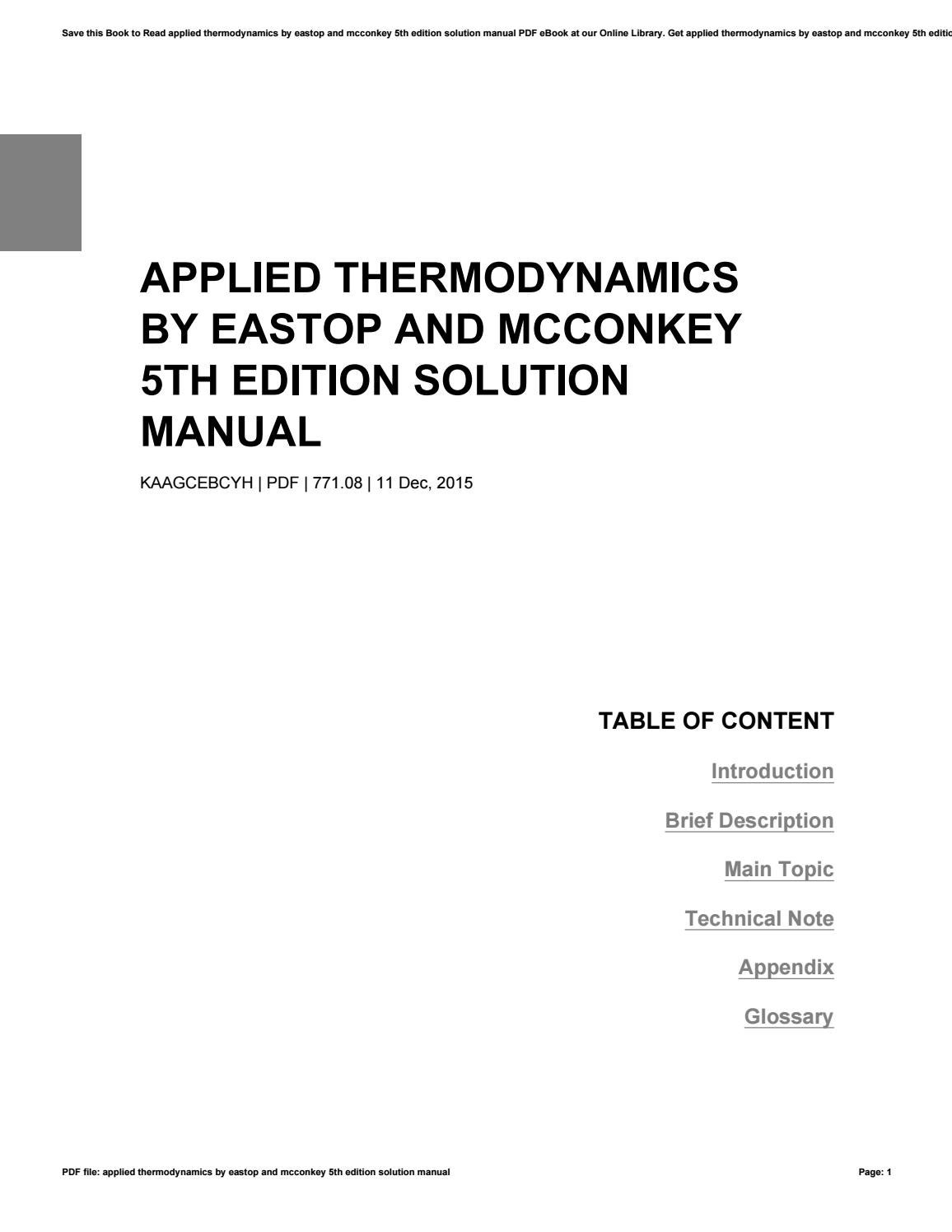 Applied thermodynamics by eastop and mcconkey 5th edition solution manual  by Valerie - issuu