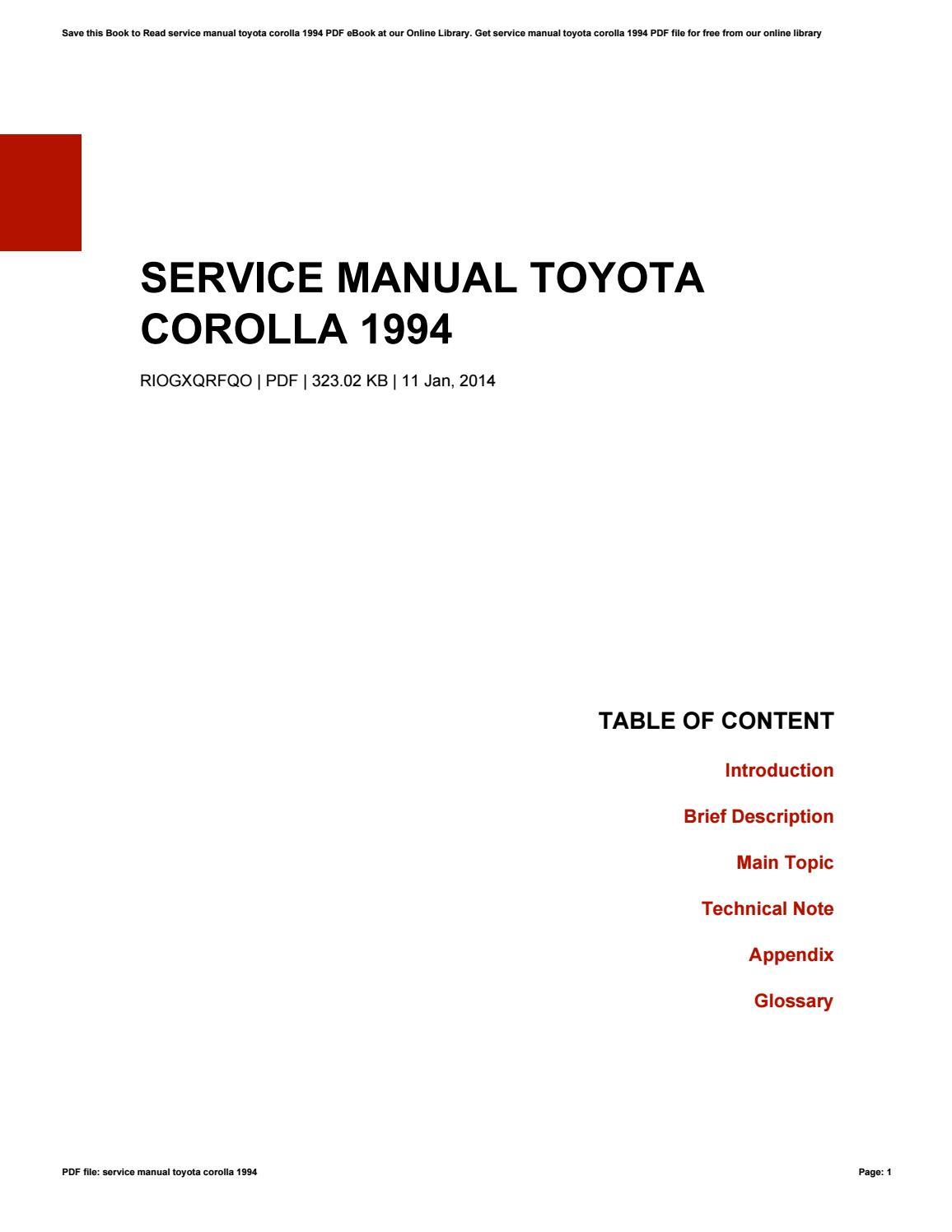 Toyota Corolla Repair Manual: Pre–check