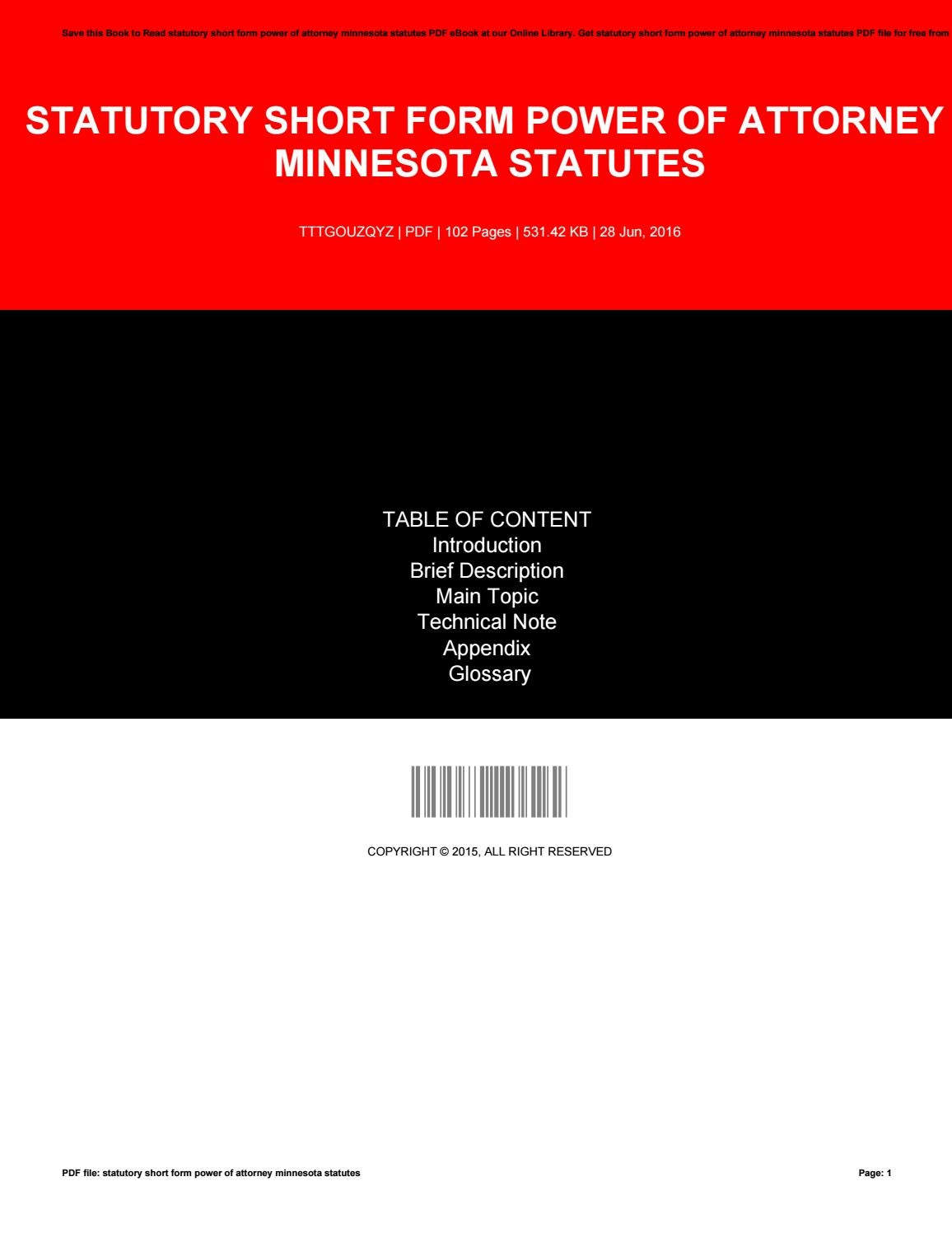 Statutory Short Form Power Of Attorney Minnesota Statutes By Beverly