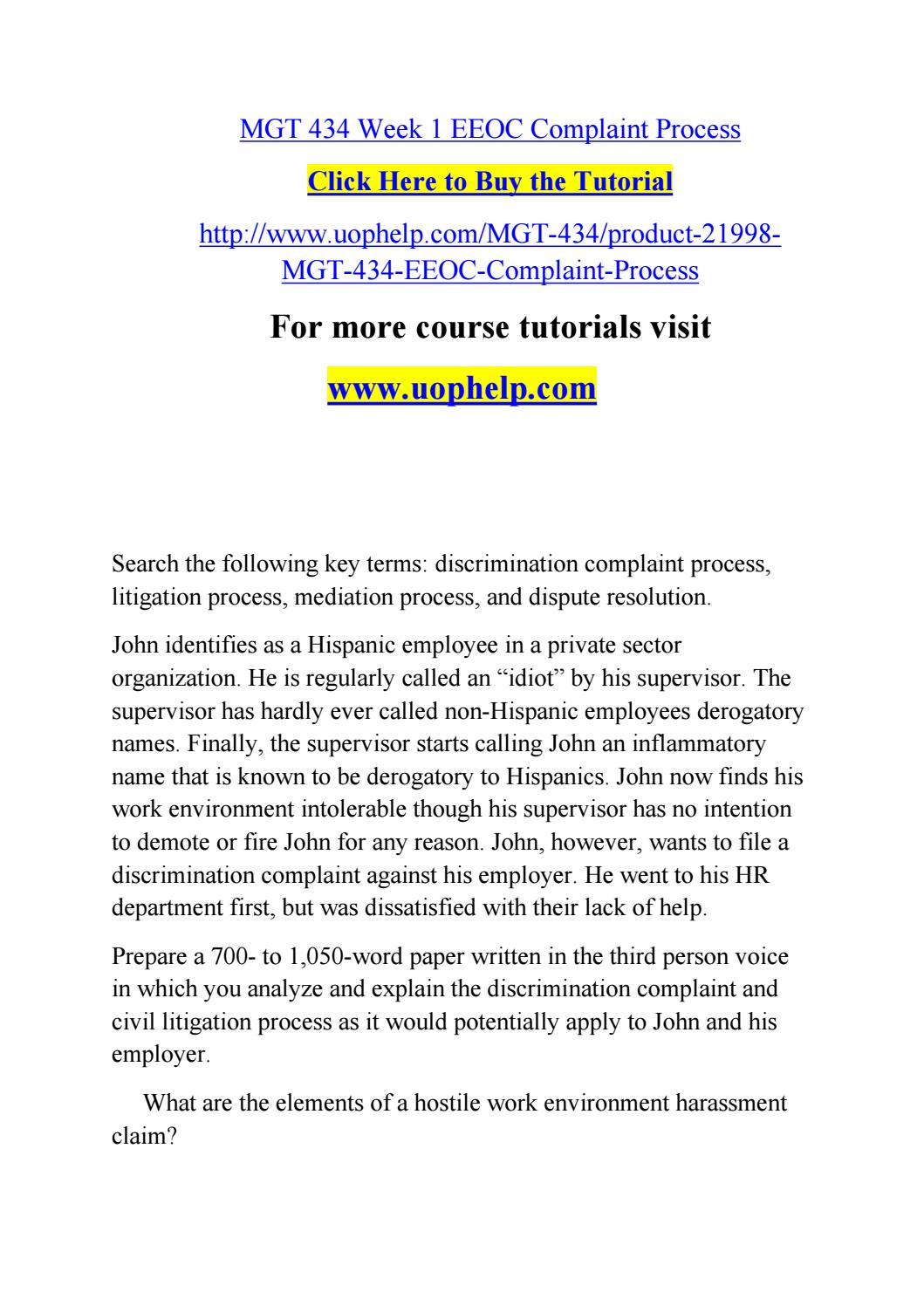 Mgt 434 week 1 eeoc complaint process by Lilium99 - issuu