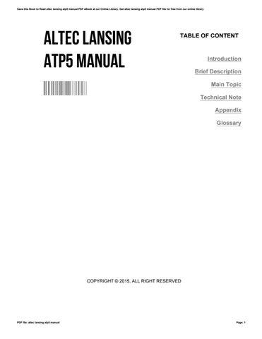altec lansing atp5 manual by melissa issuu rh issuu com