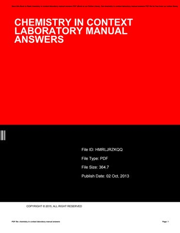 Chemistry in context laboratory manual answers by Denise