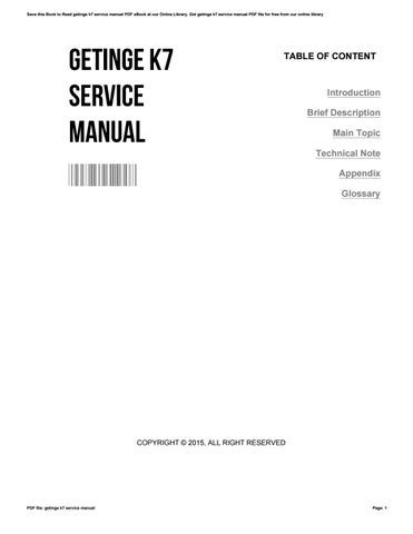 getinge k7 service manual by barbara issuu rh issuu com