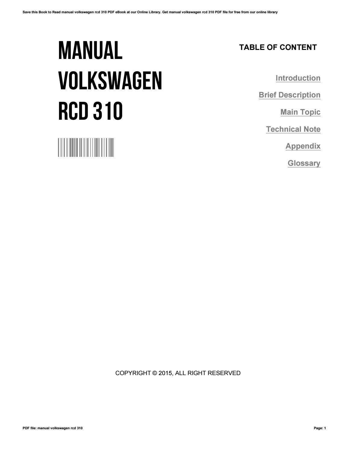 Vw Rcd 310 Wiring Diagram Manual Volkswagen By Lorena Issuurhissuu