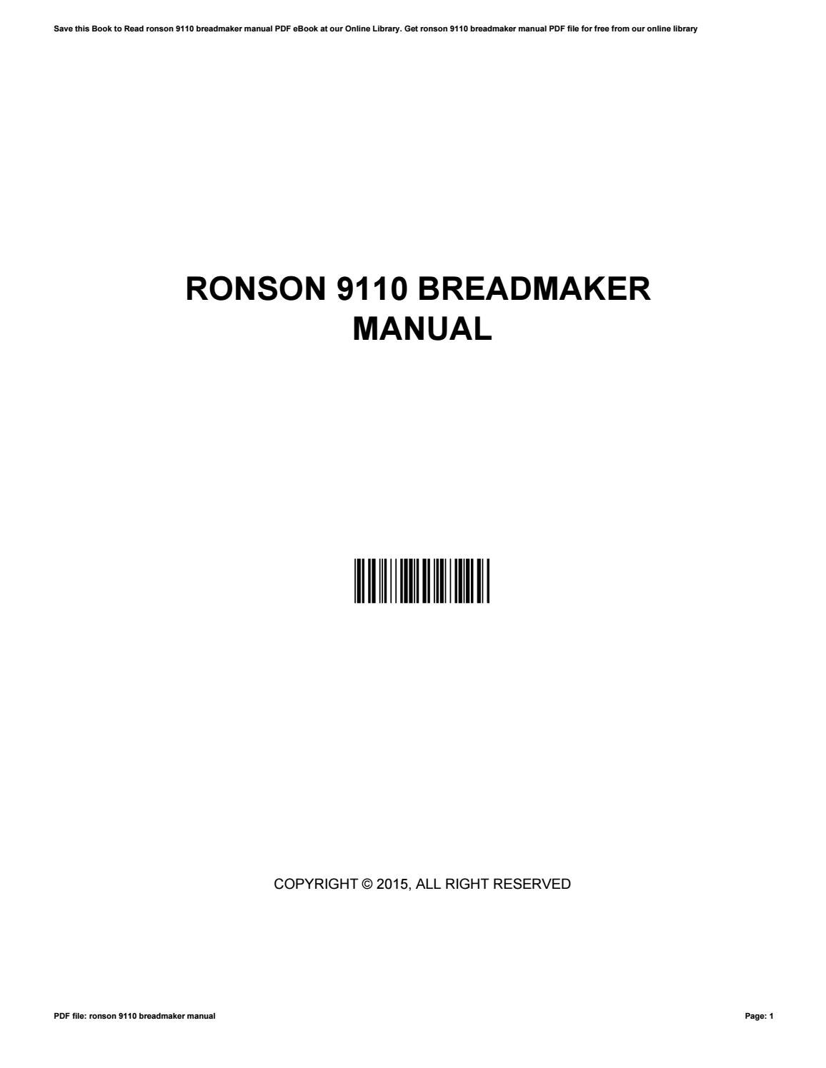 ronson breadmaker 9110 instruction manual
