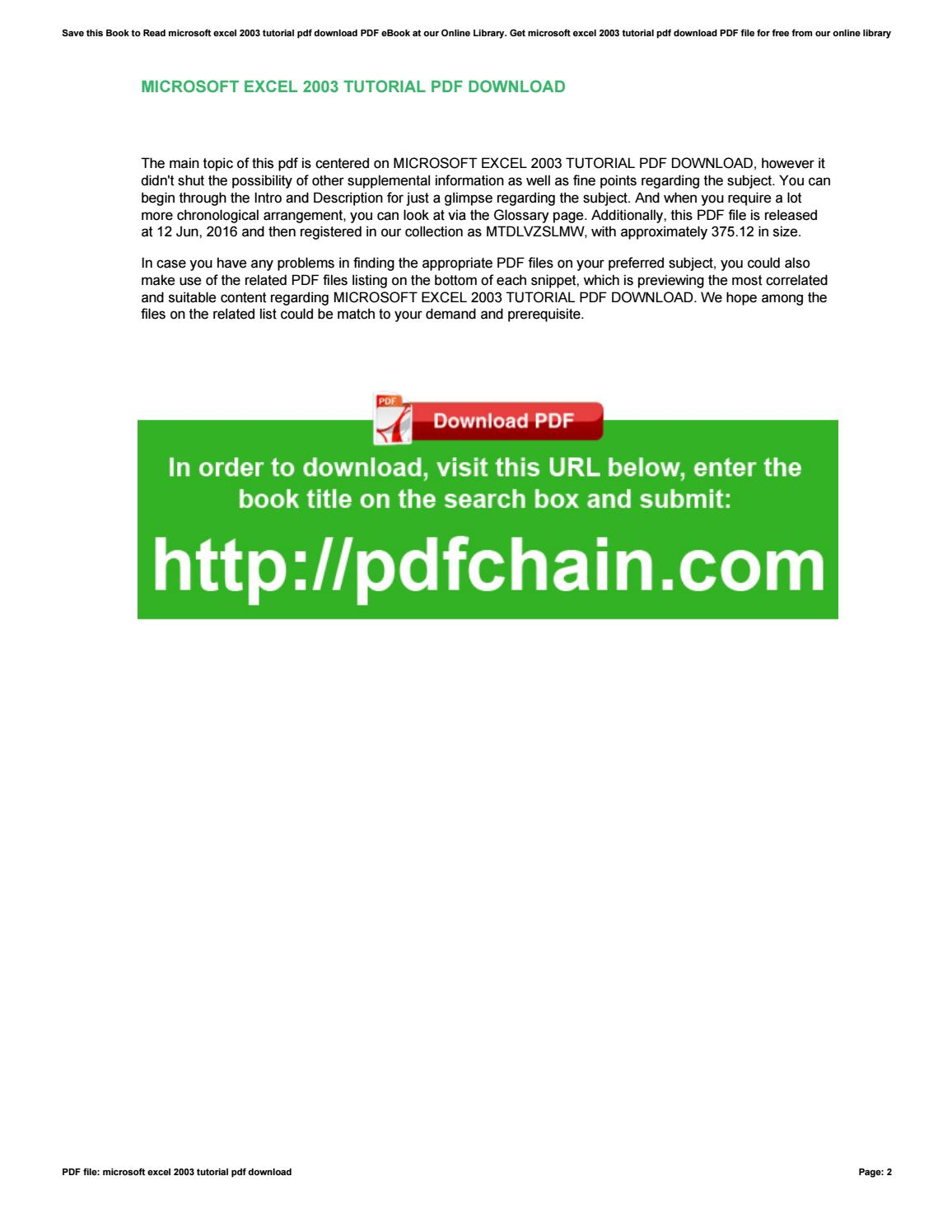Excel 2003 Download