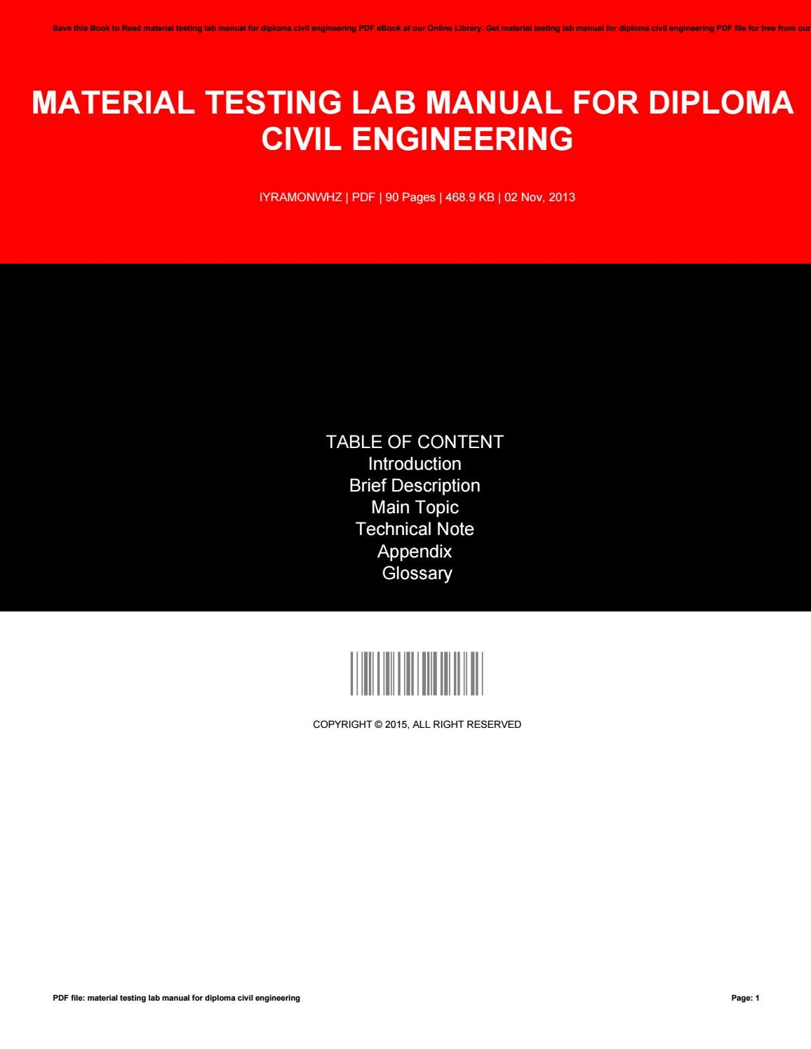 Material testing lab manual for diploma civil engineering by Eleanor - issuu