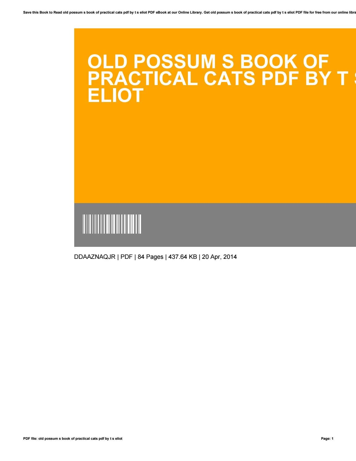 Old Possum S Book Of Practical Cats Pdf