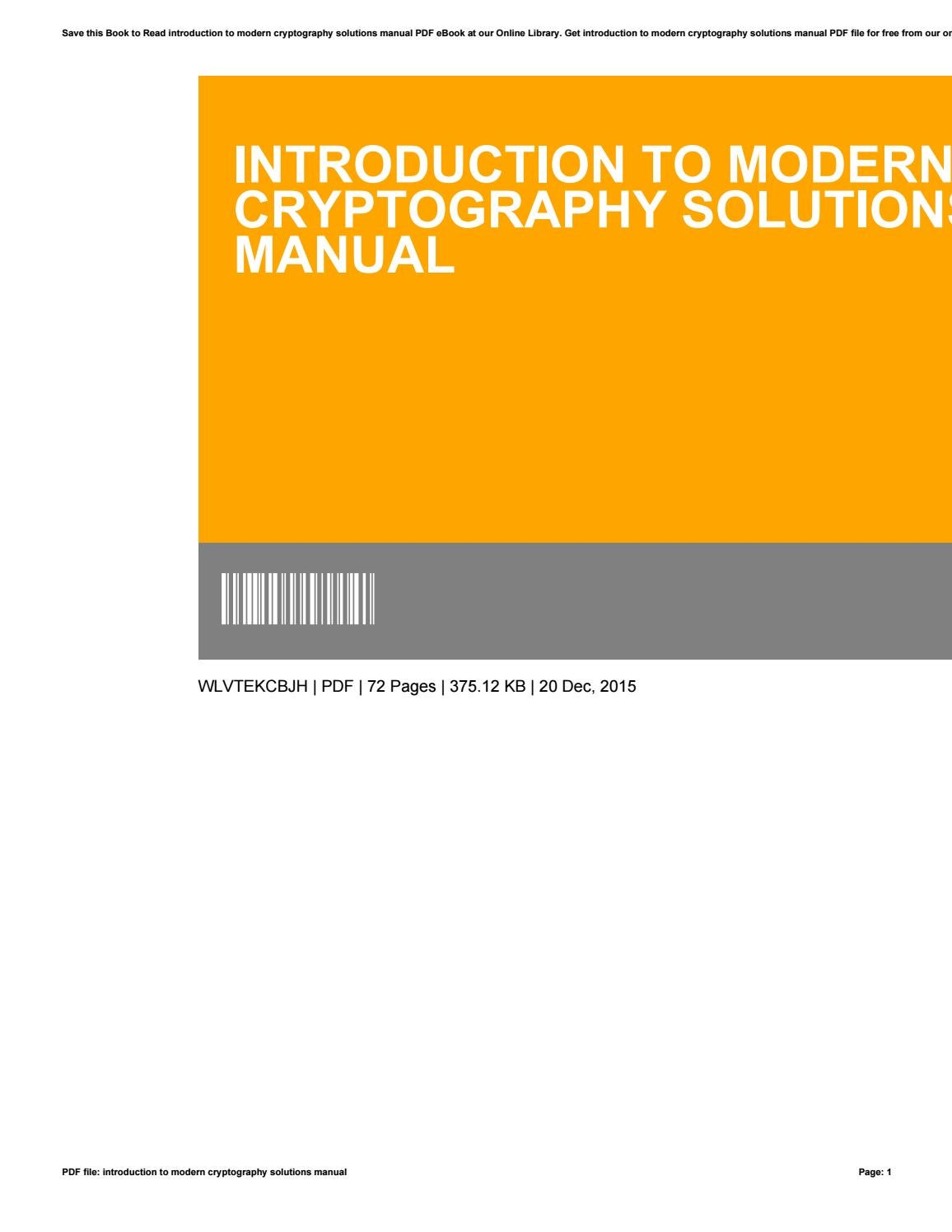 Introduction To Modern Cryptography Solutions Manual By Carlos Barrett
