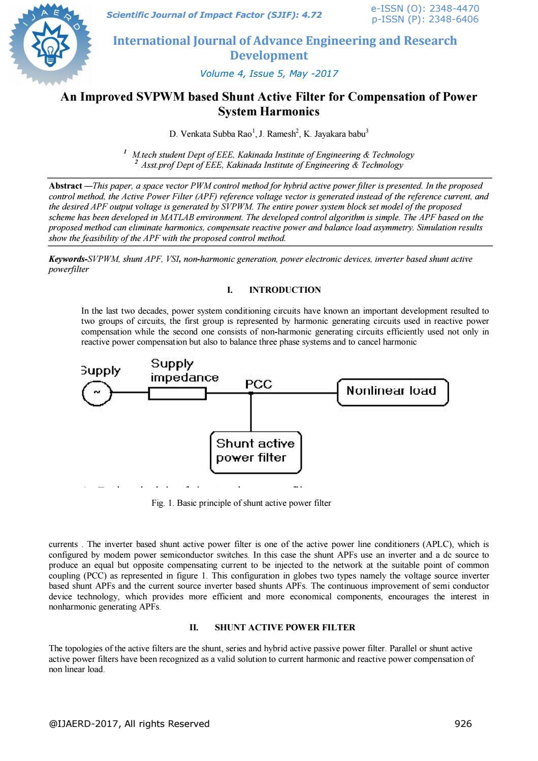 An Improved Svpwm Based Shunt Active Filter For Compensation Of Circuit Power System Harmonics Ijaerdv04i051 By Editor Ijaerd Issuu