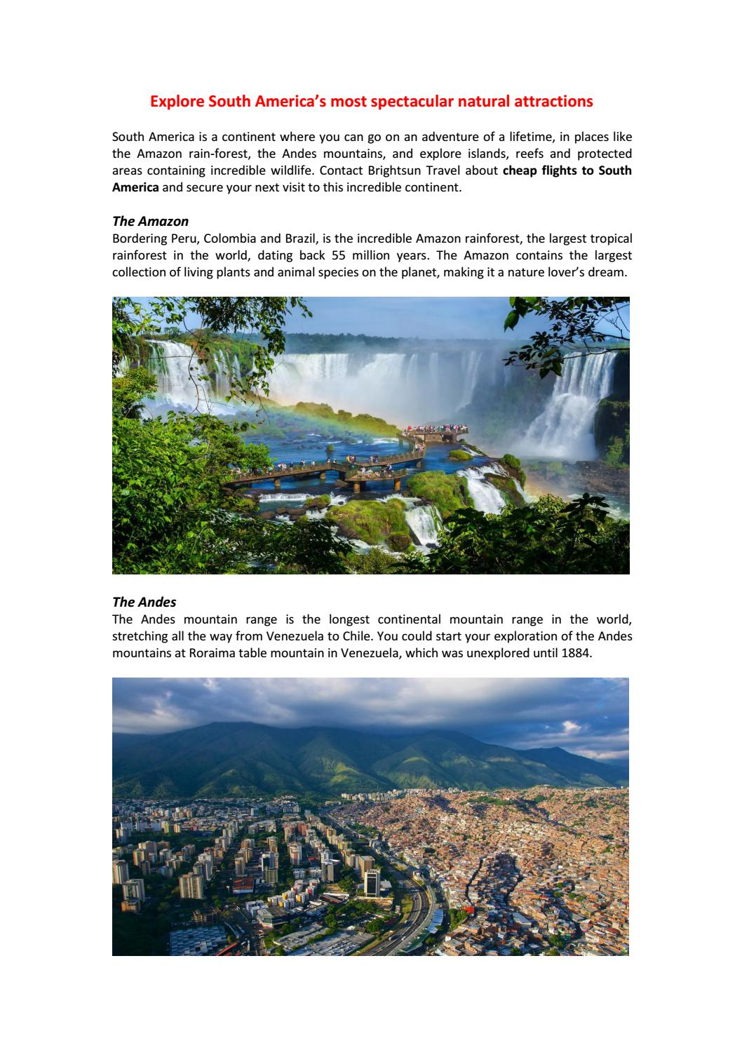 Natural areas of South America: table 32