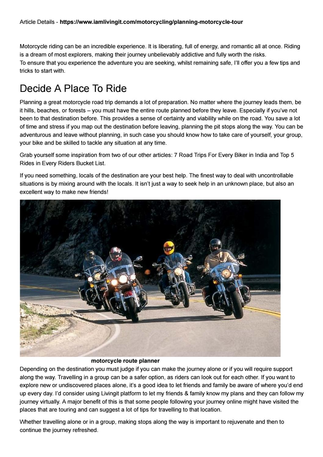 Planning for first motorcycle ride by Livingit - issuu on ride home, ride my bus, ride my scooter, ride my quad, ride my bicycle,