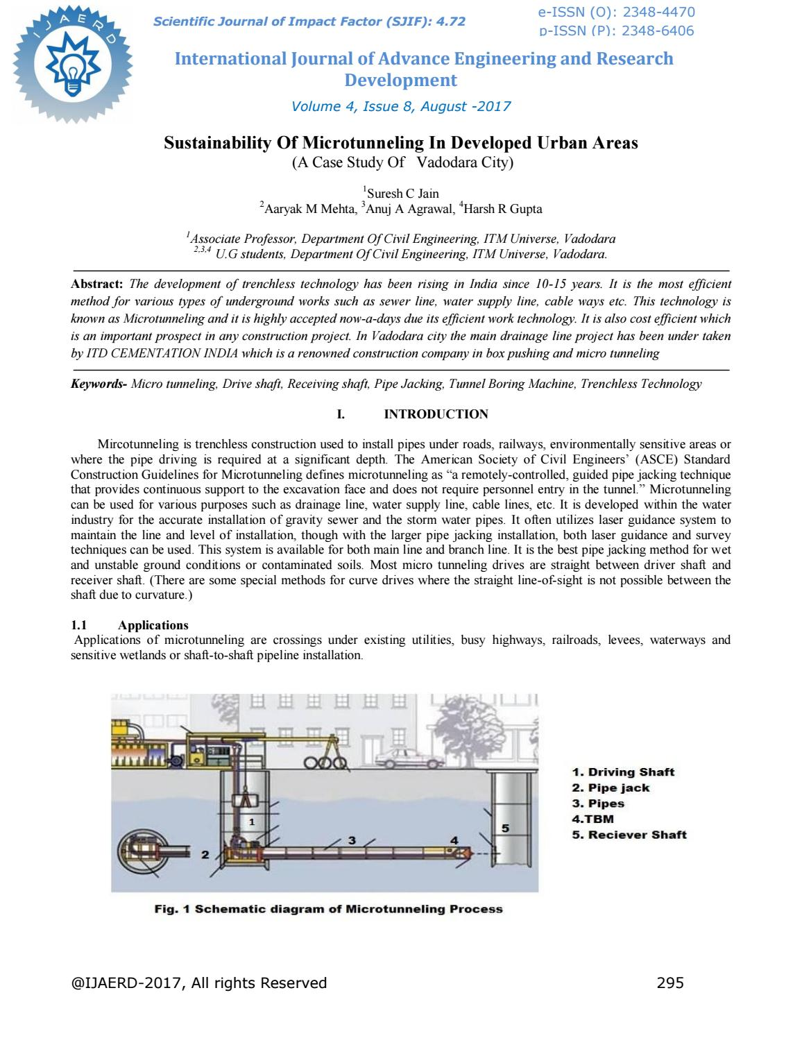 Sustainability of microtunneling in developed urban areas