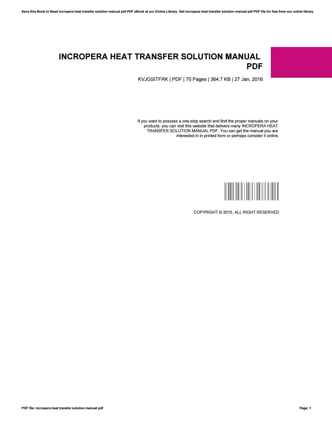 Wrg 6273 Heat Transfer Incropera Solution Manual 2019 Ebook Library