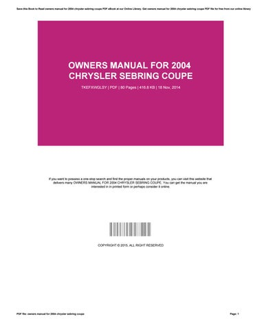 Owners manual suzuki grand vitara 2000 by niushna76bsism issuu owners manual for 2004 chrysler sebring coupe fandeluxe Gallery