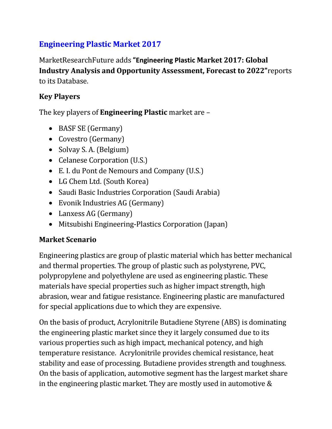 Global engineering plastic market by Kurane Rishikesh - issuu