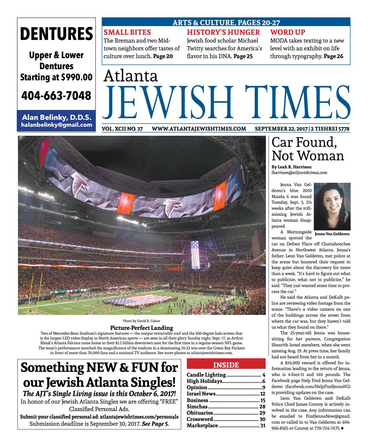 Atlanta Jewish Times, Vol  XCII No  37, September 22, 2017