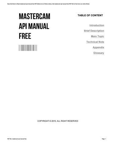 mastercam api manual free by wilson issuu rh issuu com