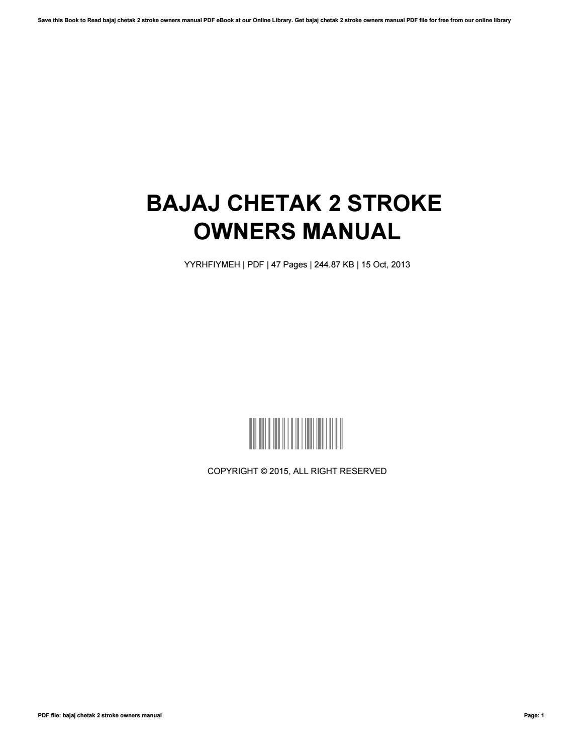 The Manual Is For A Bajaj 2 Stroke