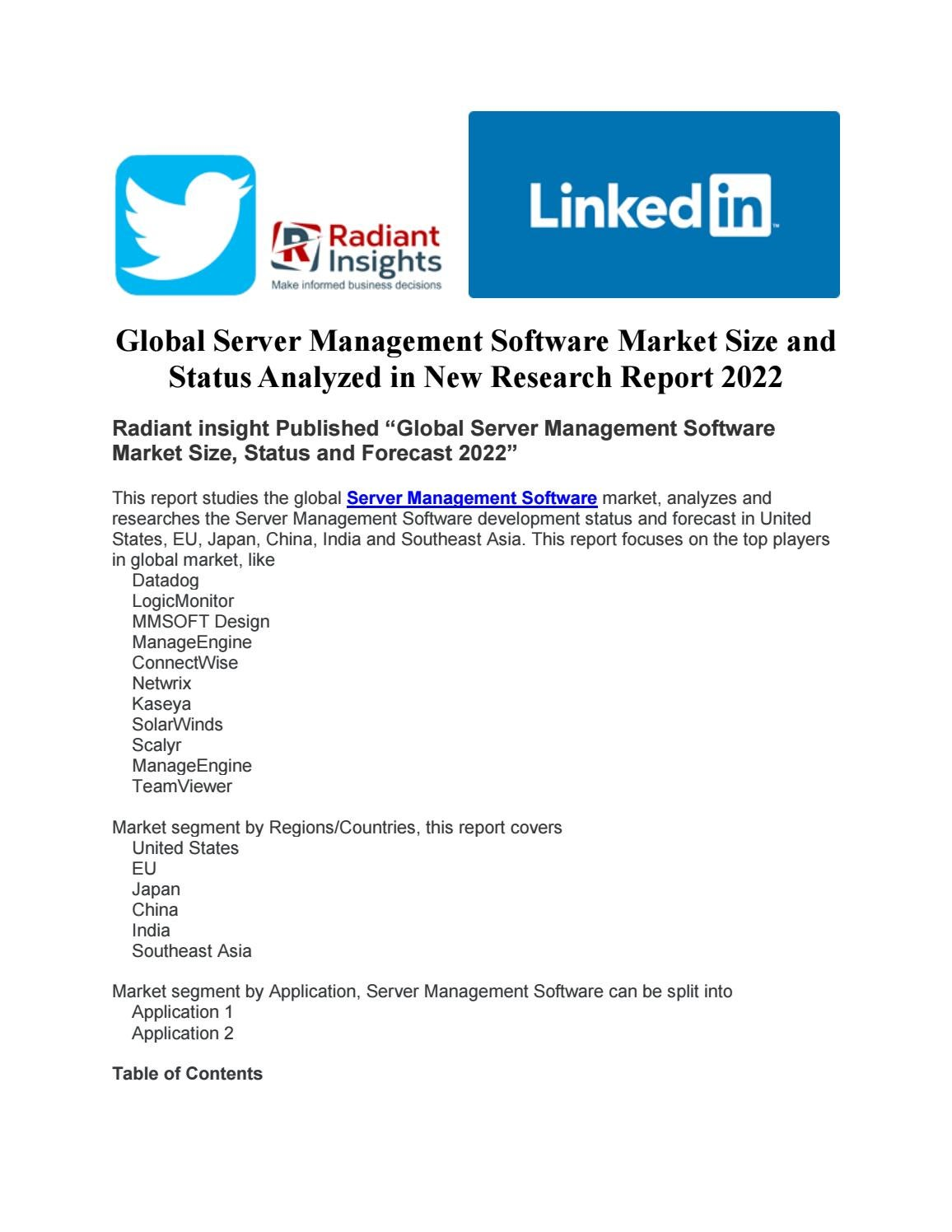 Global server management software market size and status analyzed in