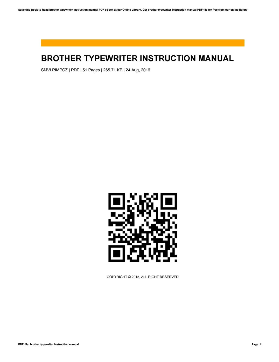 Brother Typewriter Instruction Manual By Robertlawson4598