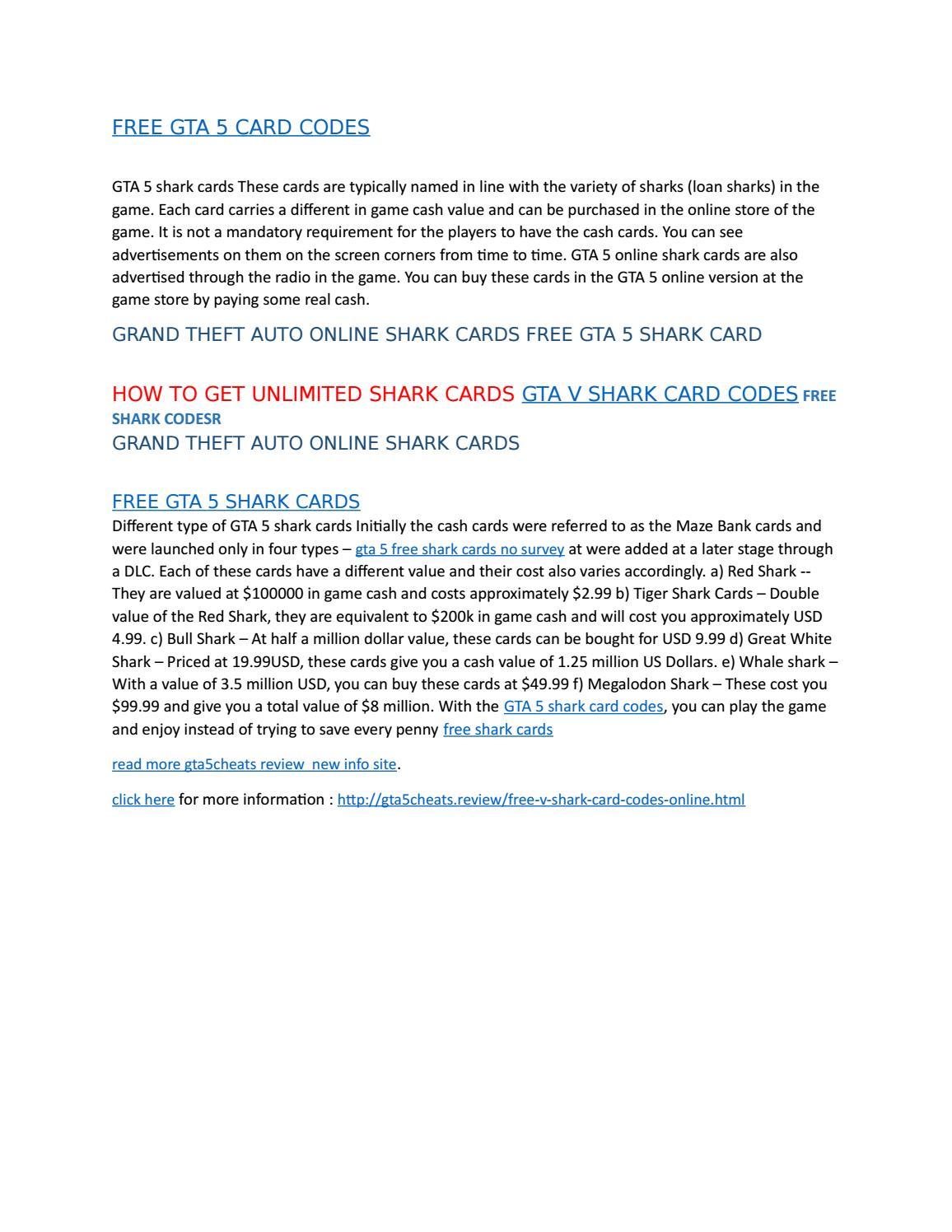 free shark cards gta 5 codes
