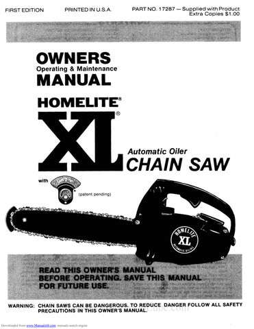 Homelite xl chainsaw owners operating maintenance manual by page 1 greentooth Images