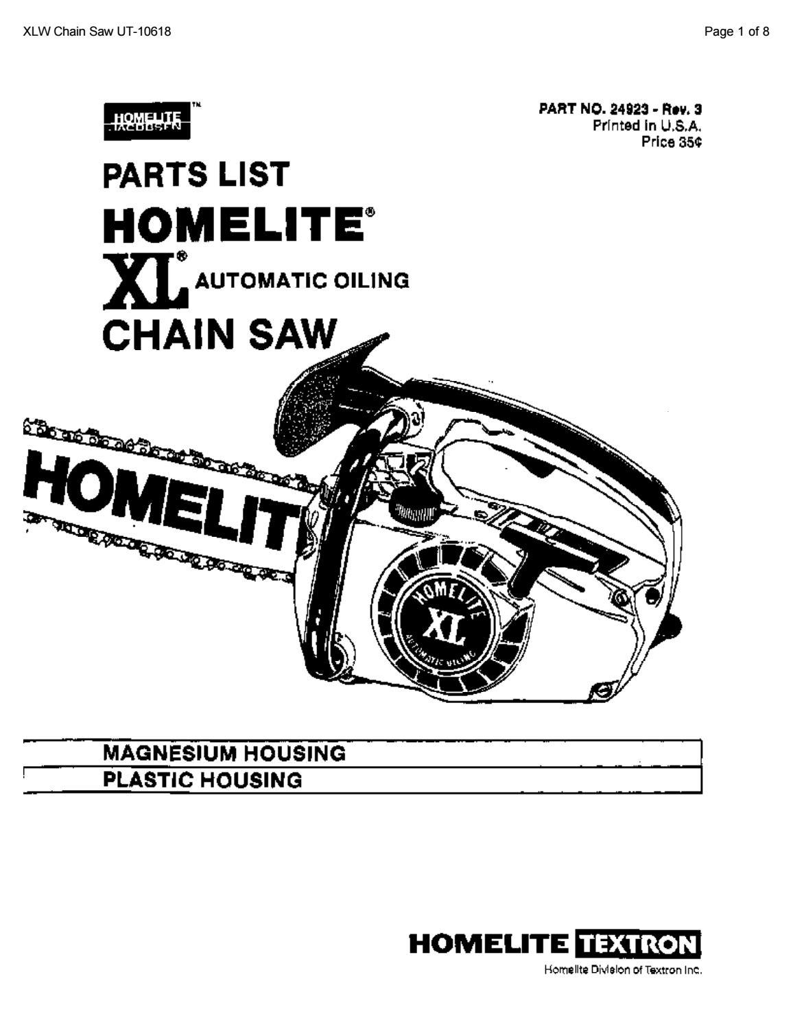 Homelite XL Chainsaw Parts List by glsense - issuuIssuu