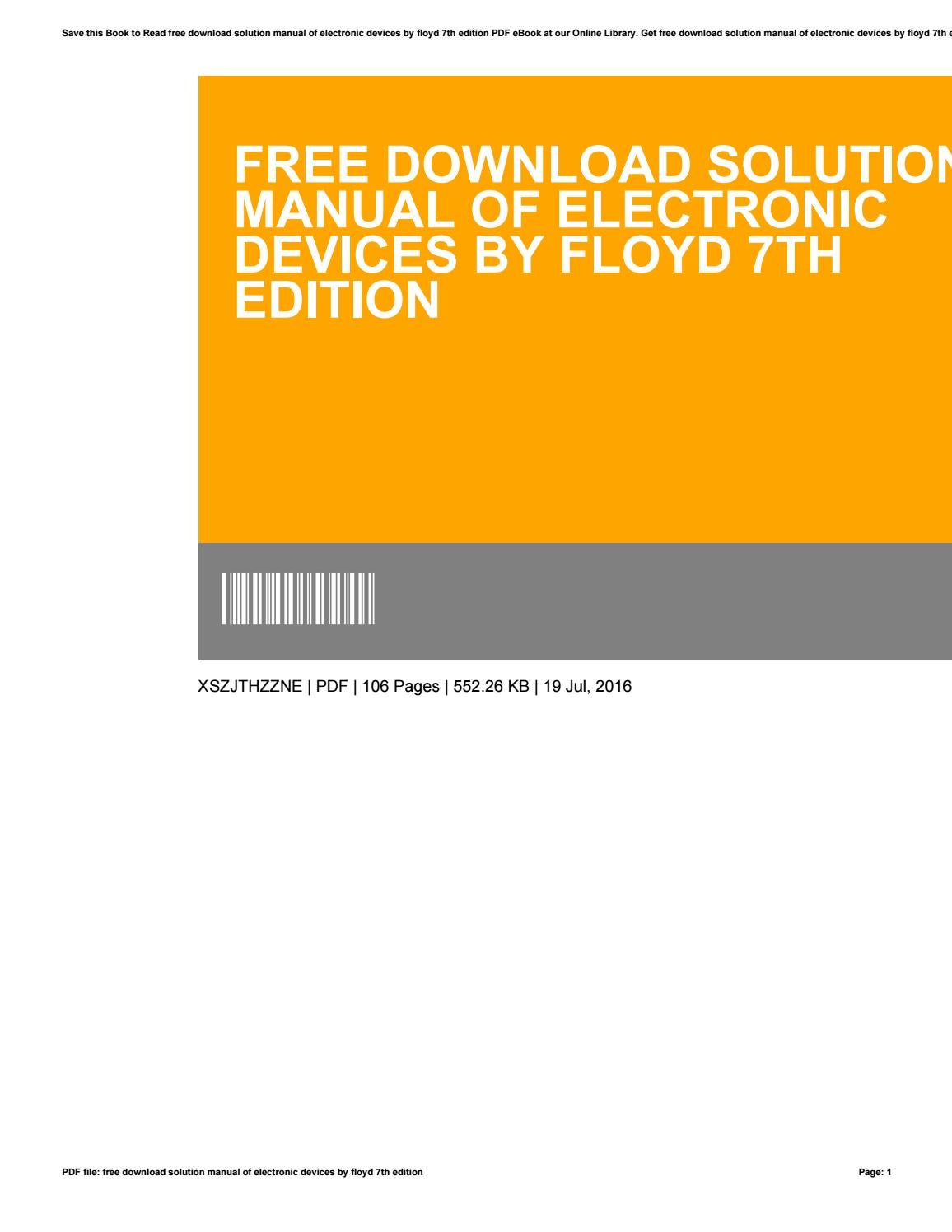 Free download solution manual of electronic devices by floyd 7th edition by  PearlieJohns4189 - issuu