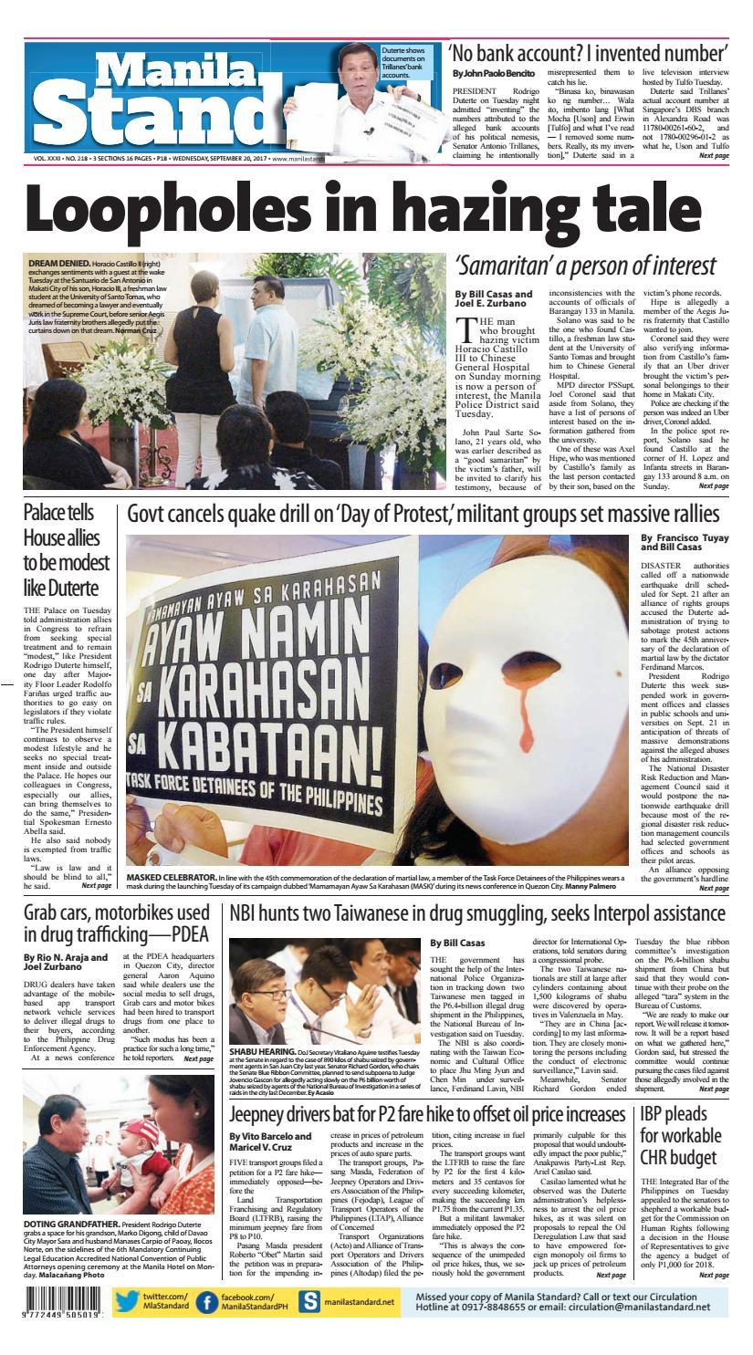 Manila Standard - 2017 September 20 - Wednesday