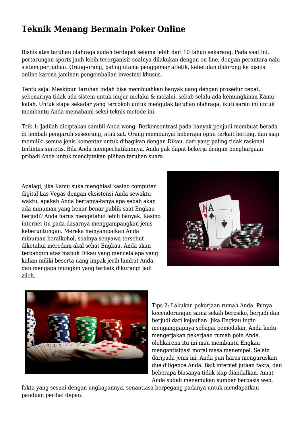 Teknik Menang Bermain Poker Online By Viainfofan Issuu 1 Sistem Bisa Semua Bisnis