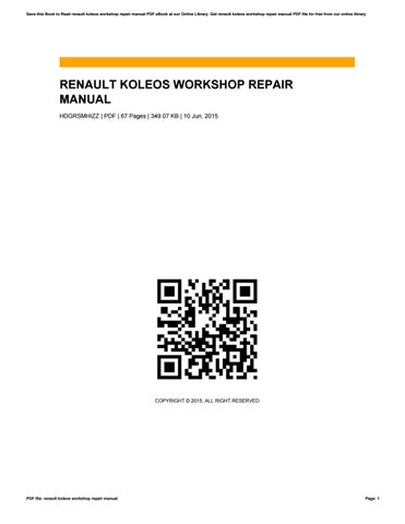 renault koleos workshop repair manual by reginagoad3626 issuu rh issuu com renault koleos workshop manual pdf Renault Koleos 2015