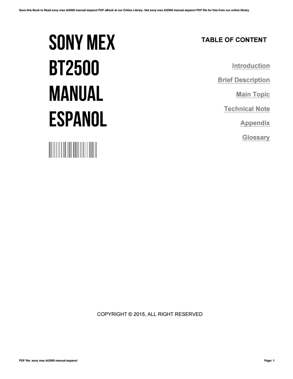 sony mex bt2500 manual espanol by russelldavis3262 issuu