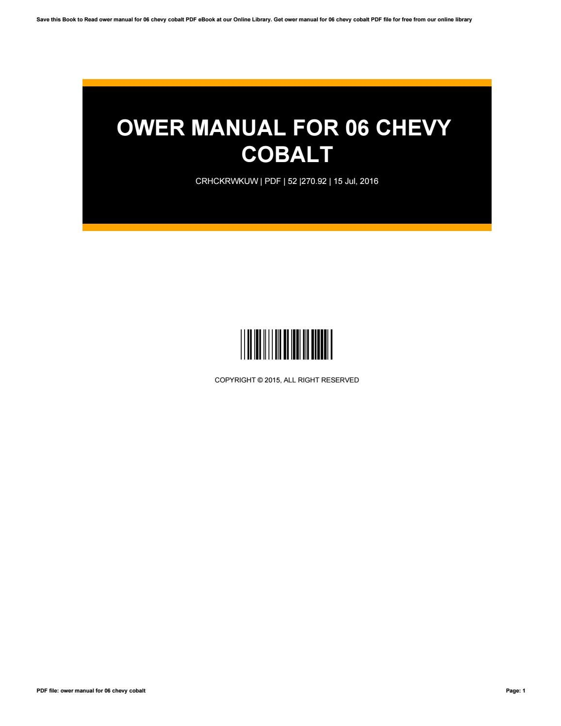 Chevy cobalt manual free 2010 chevrolet cobalt exterior photo array ower manual for 06 chevy cobalt by sehati95jaya issuu rh issuu fandeluxe Gallery