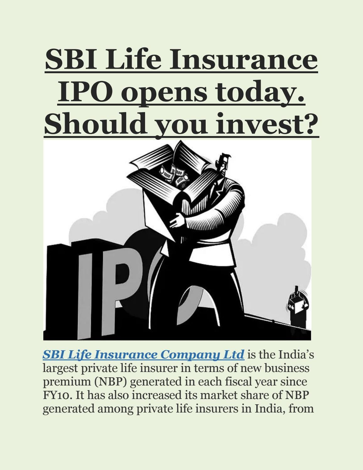 Should we invest in sbi ipo